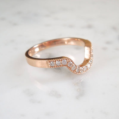 Pave Vintage Style Diamond Arc Wedding Ring