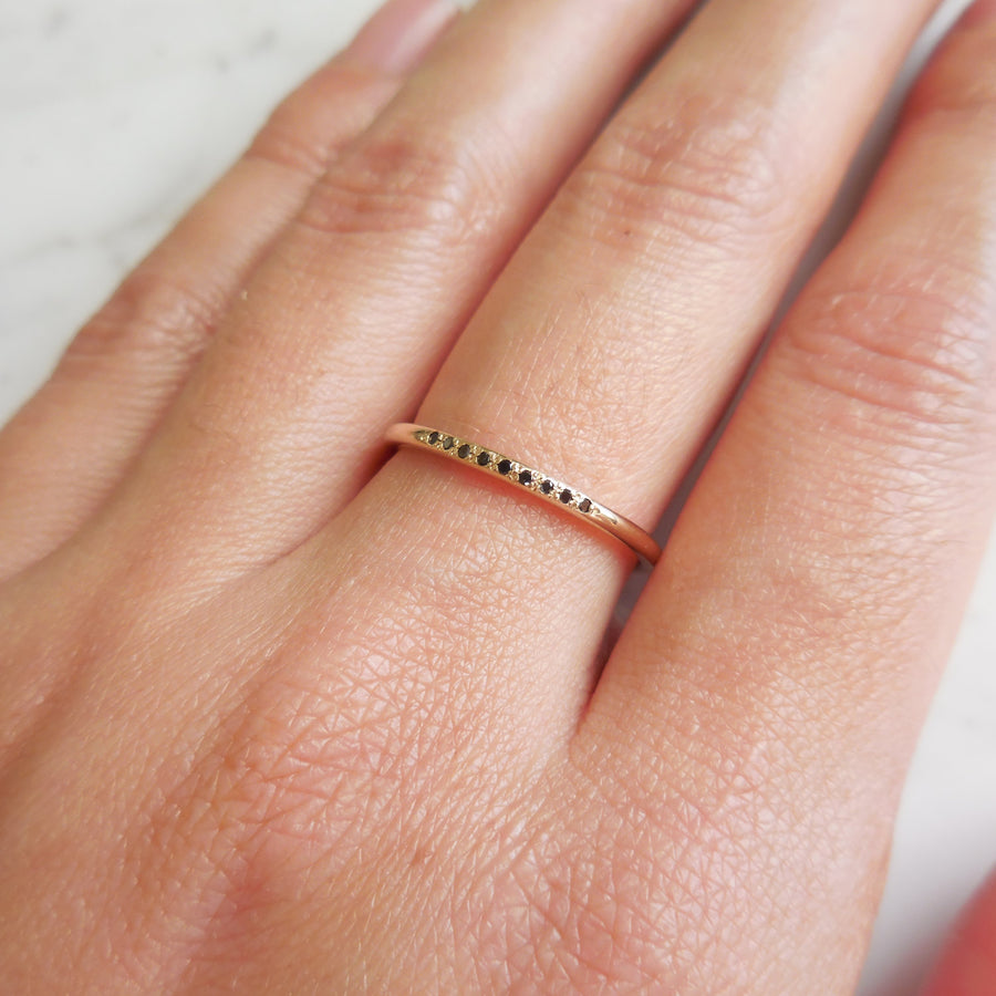 Delicate Pave Black Diamond Wedding Band