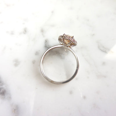 Natural Champagne Diamond Halo Engagement Ring