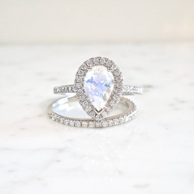 Moonstone Diamond Engagement Ring + Wedding Band
