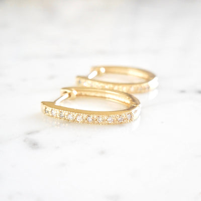 Dainty Diamond Hoops, Diamond Huggie Hoops