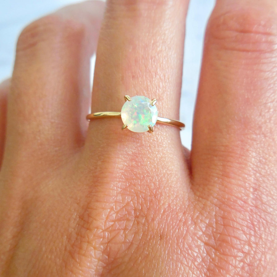 Round Opal Solitaire Ring
