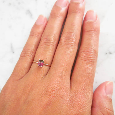 Bespoke Watermelon Tourmaline Solitaire Ring