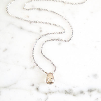Diamond Necklace, Dainty Diamond Bead Necklace