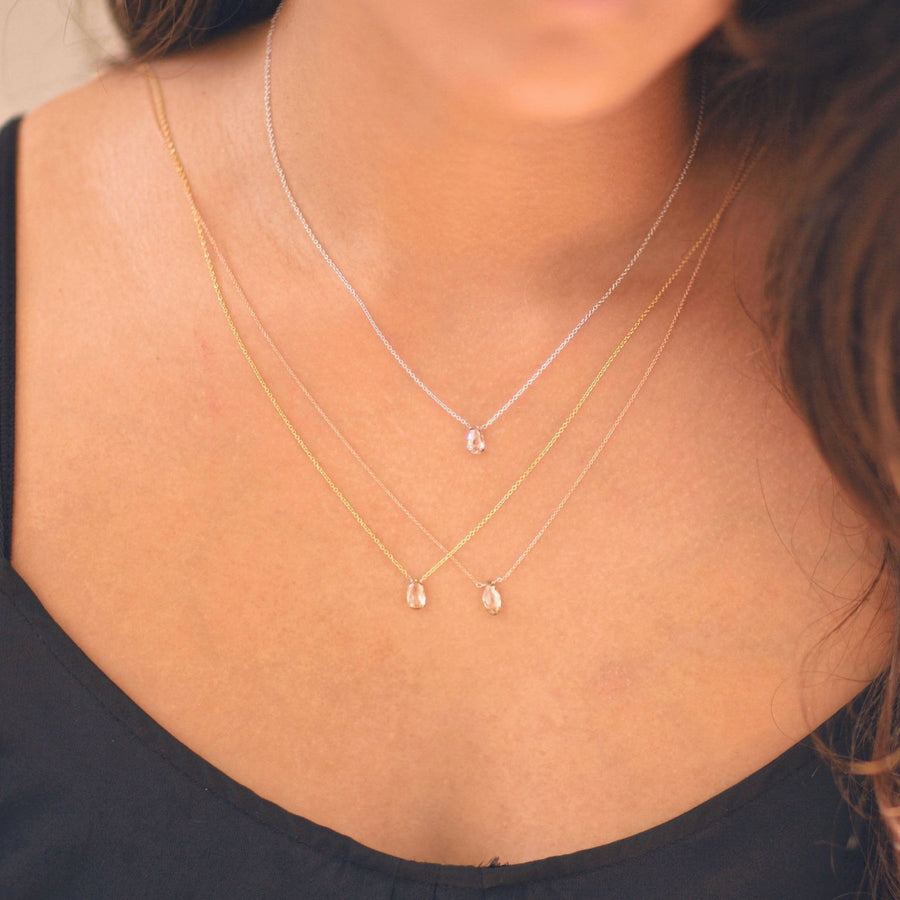 Champagne Diamond Necklace, Dainty Diamond Necklace