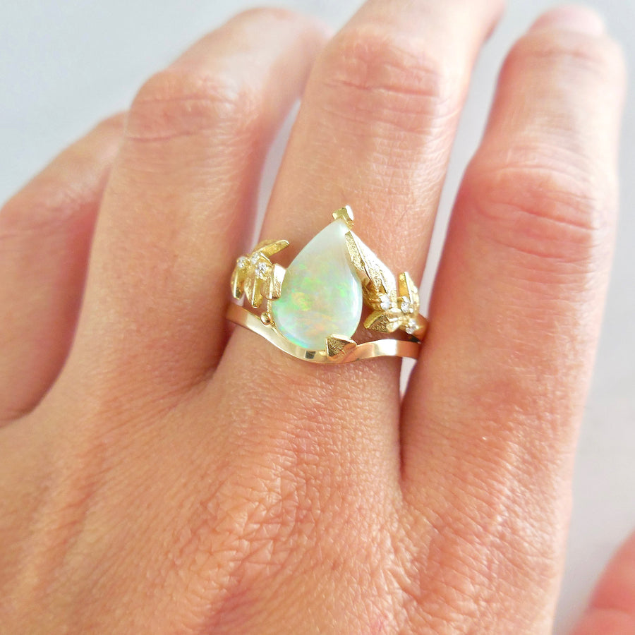 Cabochon Opal Diamond Engagement Ring