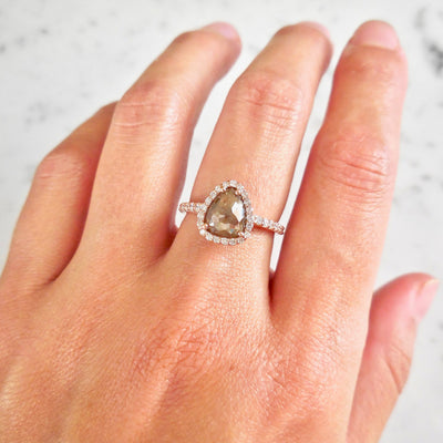 Natural Brown Rose Cut Diamond Engagement Ring