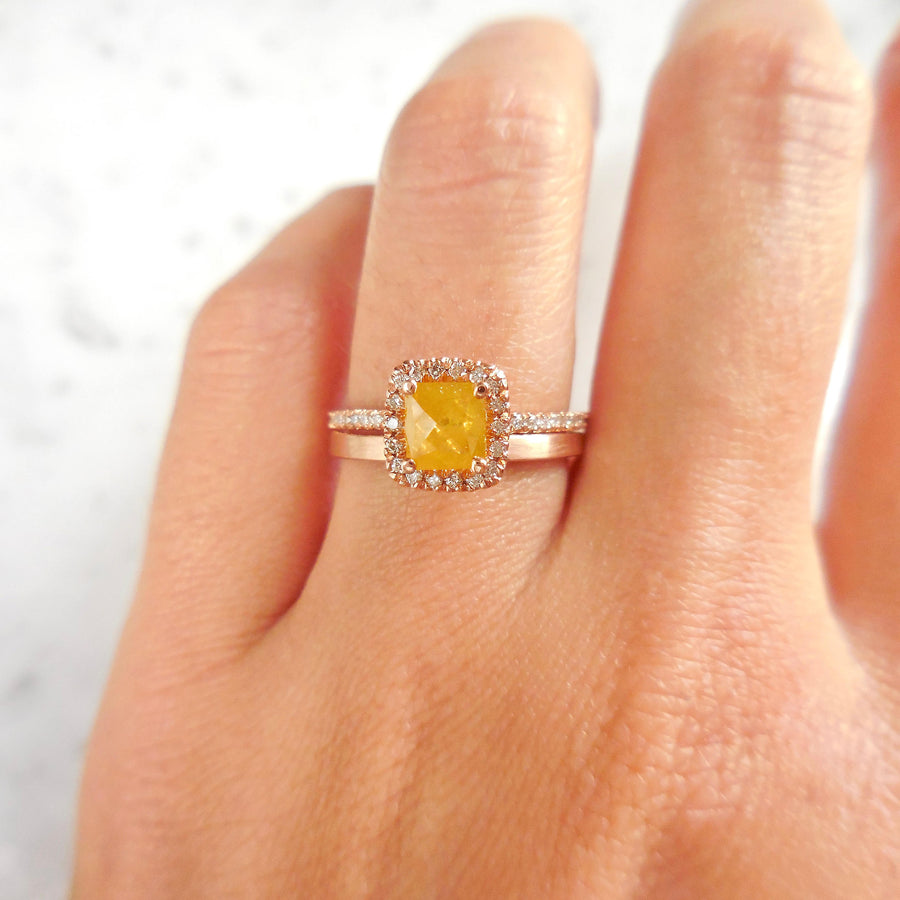 Yellow Diamond Halo Engagement Ring
