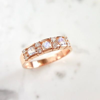 Moonstone and Diamond Wedding Band
