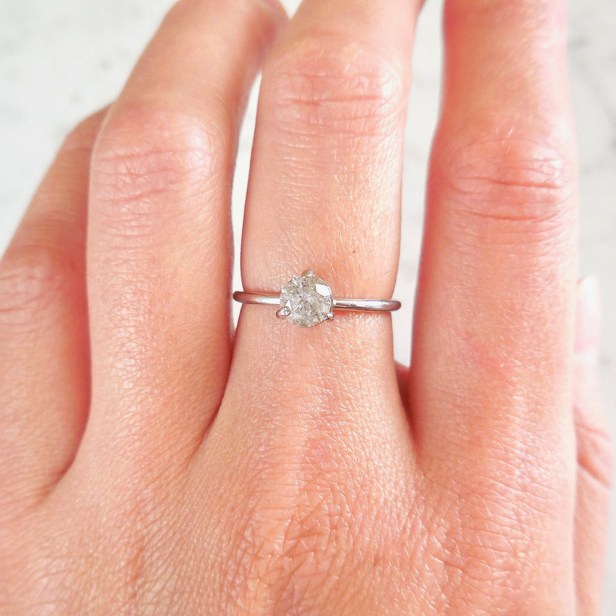 Grey Salt and Pepper Diamond 3 Prong Engagement Ring