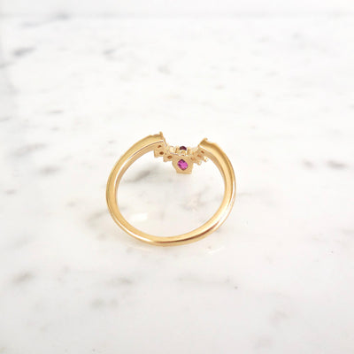 Marquise Ruby and Diamond Arc Ring