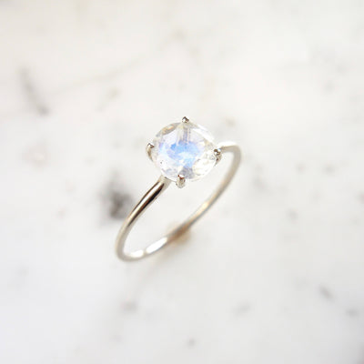 Moonstone Solitaire Ring + Wedding Set