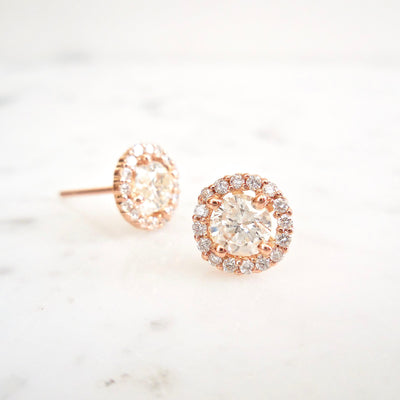 Diamond Halo Stud Earrings (EGL Certified)