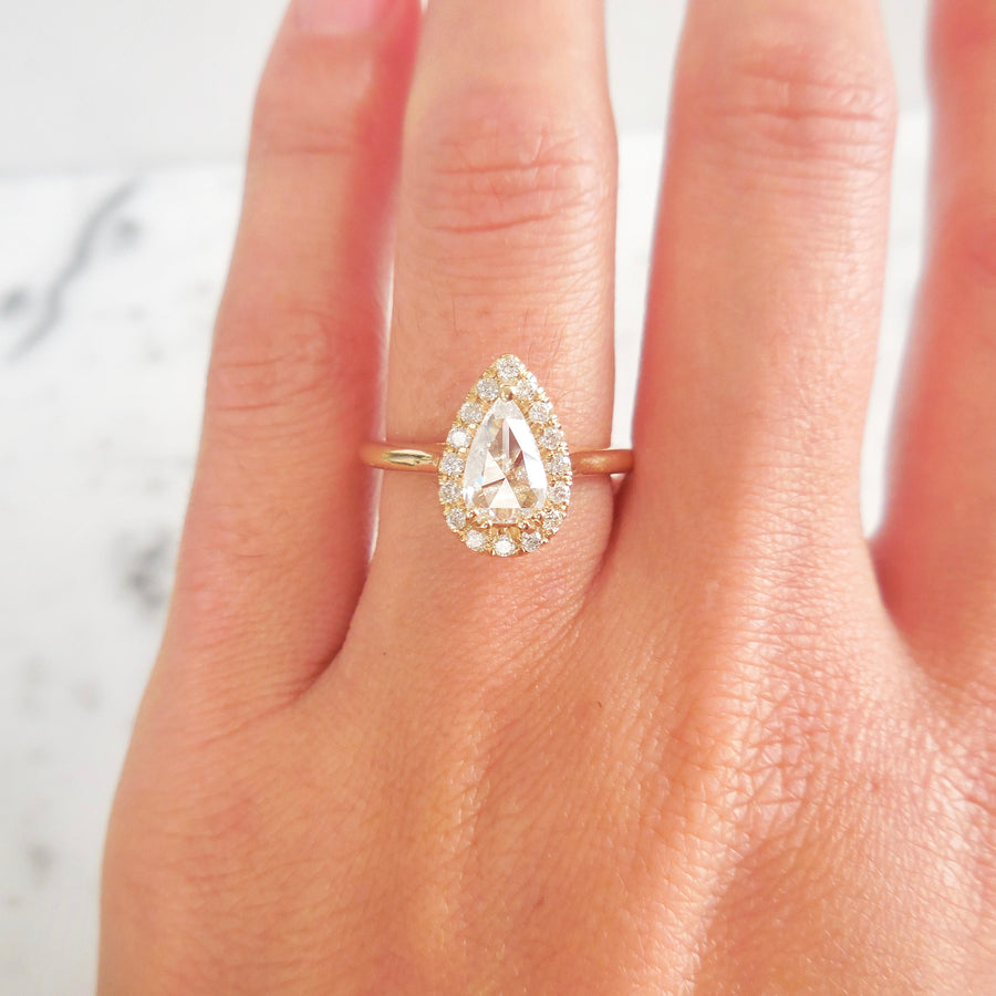 Natural Clear Rose Cut Diamond Halo Engagement Ring