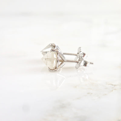 Grey Diamond Stud Earrings, Inverted Diamond Earrings