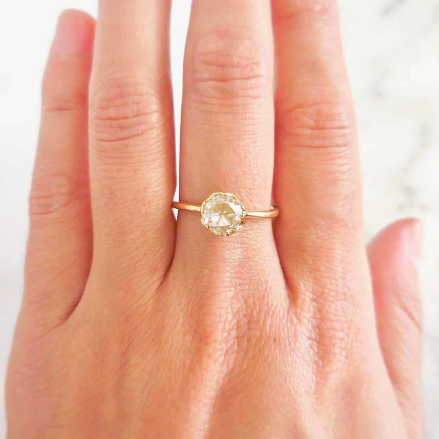 Rose Cut Moissanite 18 karat Gold Engagement Ring