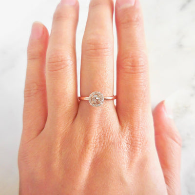 Natural Salt and Pepper Diamond Engagement Ring