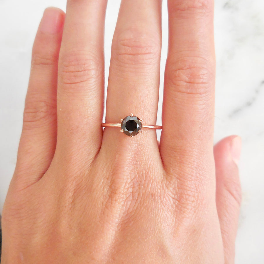 Black Diamond Solitaire Engagement Ring