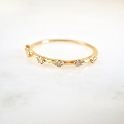 Diamond Flower Wedding Band