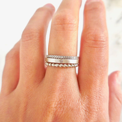 Silver Diamond Stack Ring