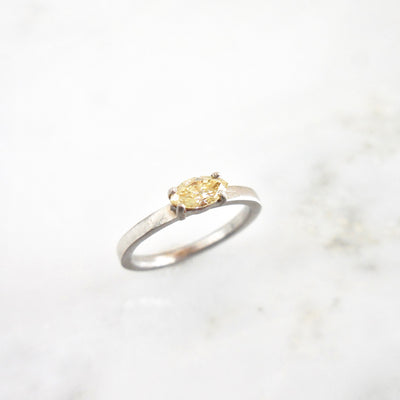 Yellow Marquise Solitaire Diamond Engagement Ring - Horizontal