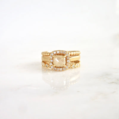 Square Diamond Halo Engagement Ring