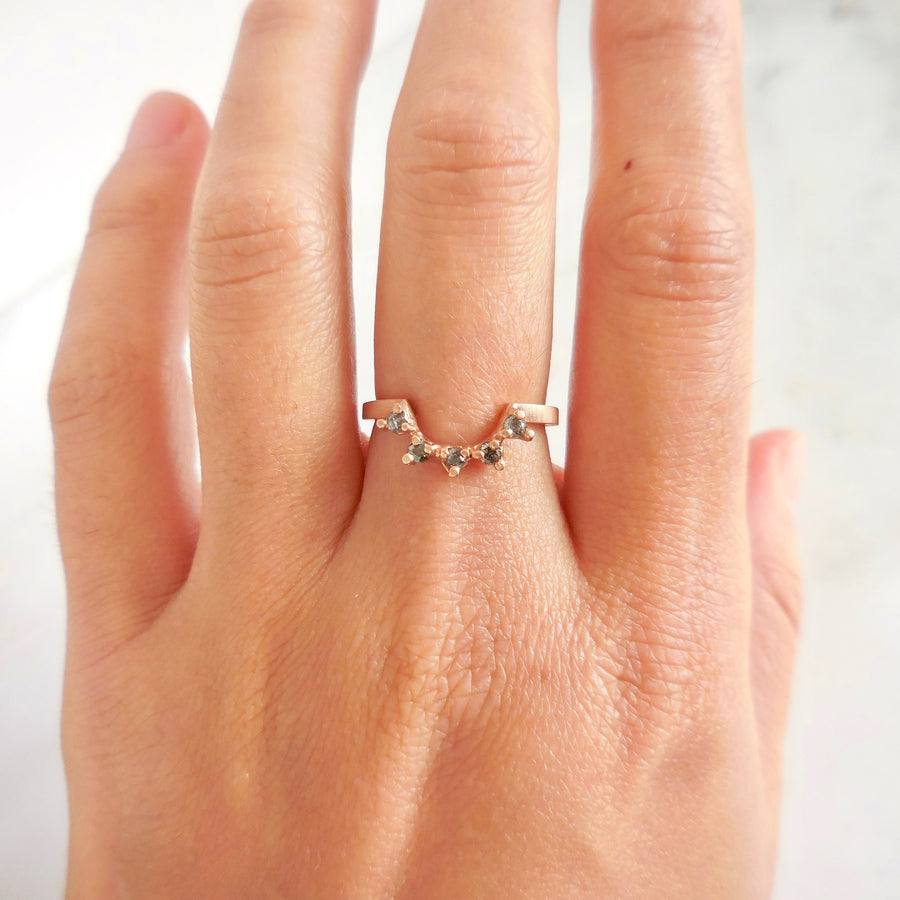 Salt and Pepper Diamond Arc Ring