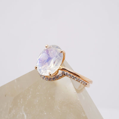Oval Moonstone Solitaire Ring, 10x8 mm Moonstone Ring