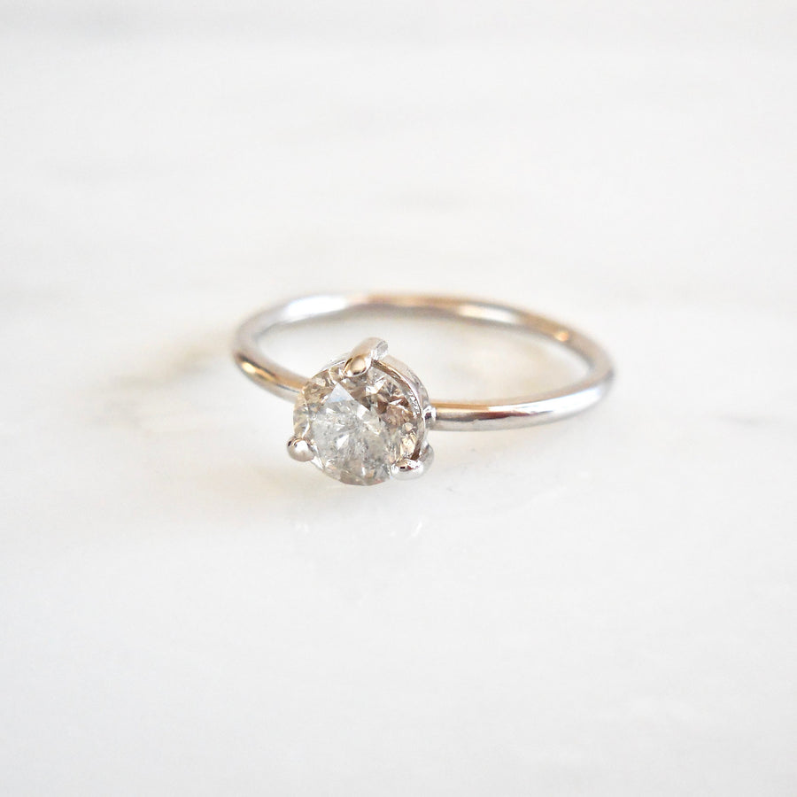Salt and Pepper Diamond 3 Prong Engagement Ring