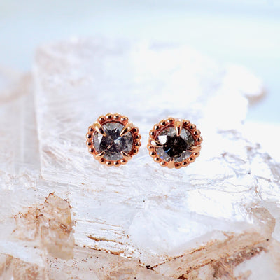 Salt and Pepper Diamond Compass Studs