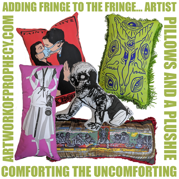 FRINGE ART PILLOWS WITH ADDED FRINGE...