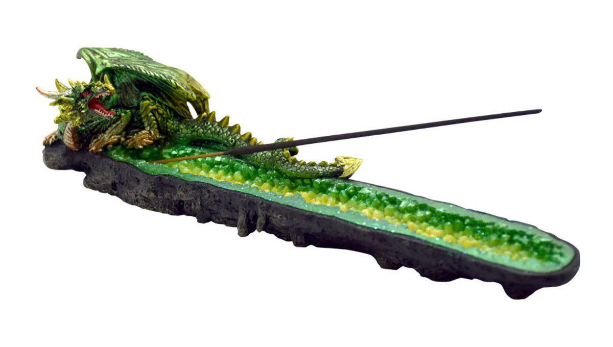 Green Glitter Dragon Incense Burner