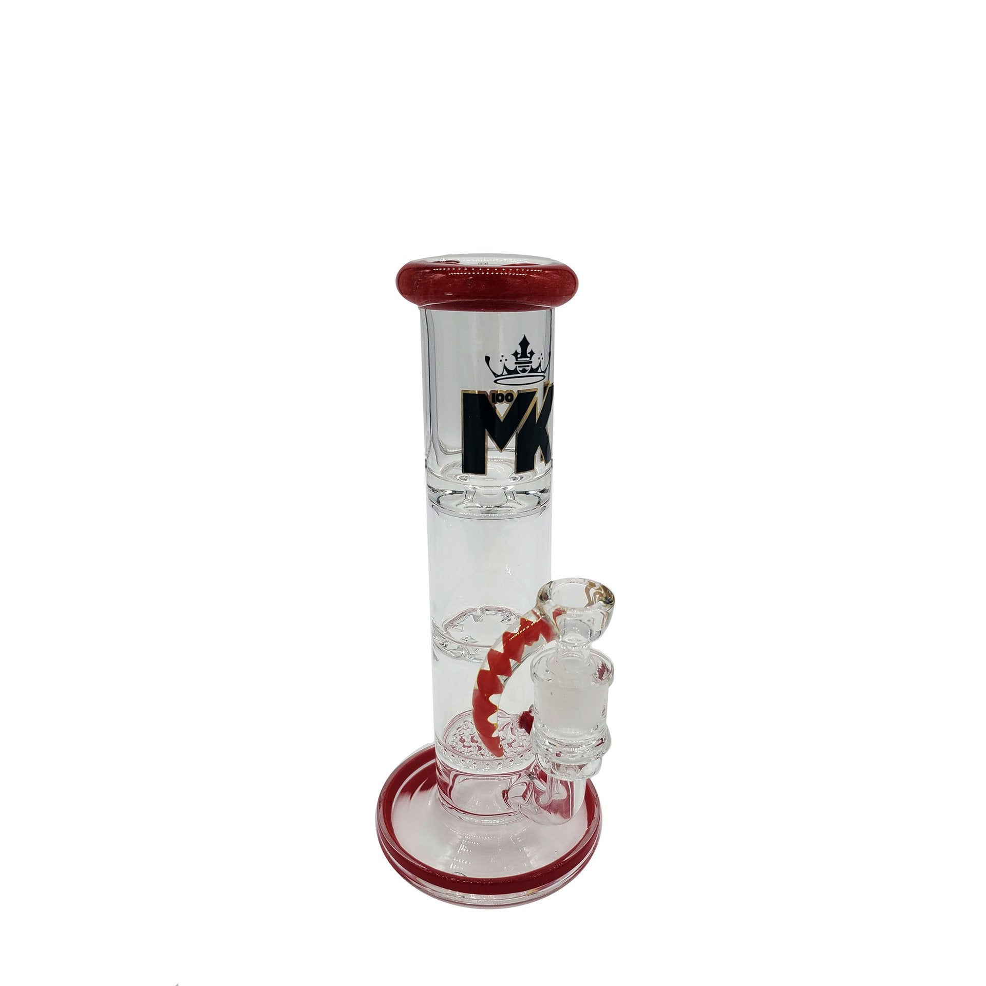 "MK GLASS-WORKS 10"" HONEYCOMB & TURBINE SLIM STRAIGHT - RED"