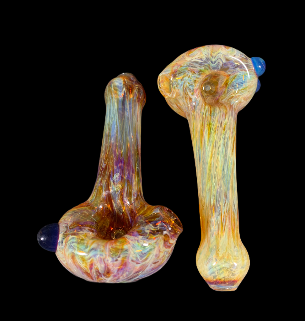 Andy Dillon Fumed Handpipe w/ Blue Dots
