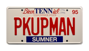 PKUPMAN prop plate movie memorabilia from Joe Diffie's Pickup Man music video