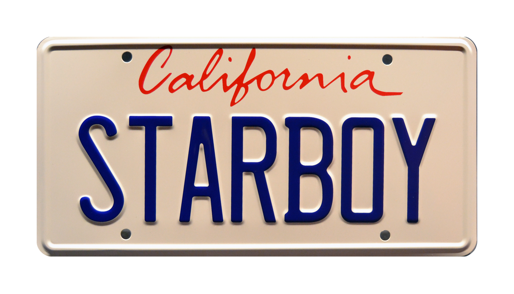 STARBOY prop plate movie memorabilia from The Weeknd ft Daft Punk's music video