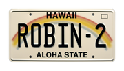 ROBIN-2 prop plate television memorabilia from Magnum PI starring Jay Hernandez
