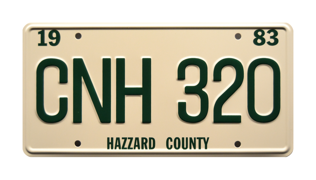 CNH 320 prop plate movie memorabilia from Dukes of Hazzard General Lee starring Burt Reynolds