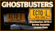 ECTO-1 prop plate movie memorabilia from Ghostbusters starring Bill Murray