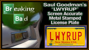 LWYRUP prop plate television memorabilia from Breaking Bad starring Bob Odenkirk from Better Call Saul