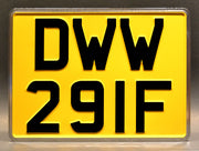 Replica metal stamped United Kingdom license plate garage decor from Doctor Who Promo Shoot with Clara Oswald