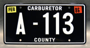 Replica metal stamped Carburetor County license plate garage decor from Cars starring Owen Wilson