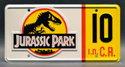 Replica metal stamped license plate garage decor from Jurassic Park starring Bob Peck