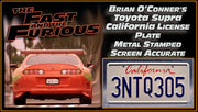 3NTQ305 prop plate movie memorabilia from The Fast and The Furious starring Ja Rule