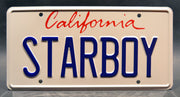 Replica metal stamped California license plate garage decor from The Weeknd and Daft Punk's music video with Thomas Bangalter