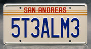 Replica metal stamped San Andreas license plate garage decor from Grand Theft Auto starring Samuel L Jackson