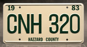 Replica metal stamped license plate garage decor from Dukes of Hazzard starring Jessica Simpson