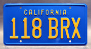Replica metal stamped California license plate garage decor from Hooper starring John Marley