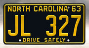 Replica metal stamped North Carolina license plate garage decor from The Andy Griffith Show with Barney Fife