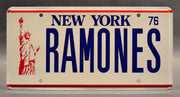 Replica metal stamped New York license plate garage decor from The Ramones with Johnny Ramone